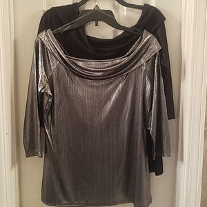2 NWT Womens City Streets Night on the Town Shirts